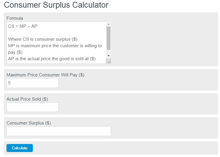 consumer surplus calculator
