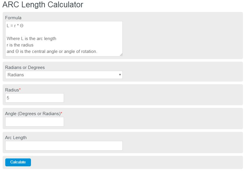 arc length calculator