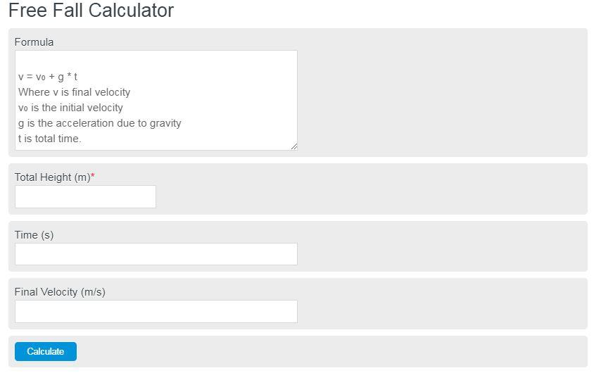free fall calculator
