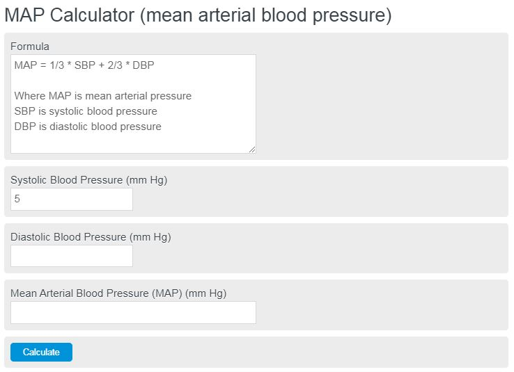 Map Calculator Mean Arterial Blood Pressure Calculator Academy