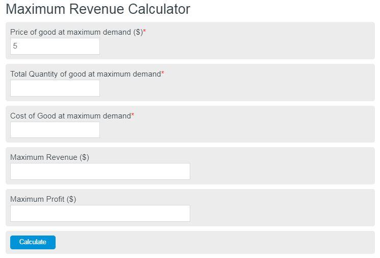 Maximum Revenue Calculator Calculator Academy