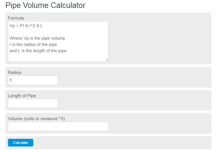 pipe volume calculator