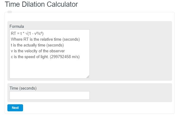 Time Dilation Calculator