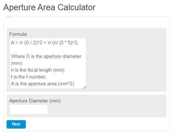 Aperture Area Calculator