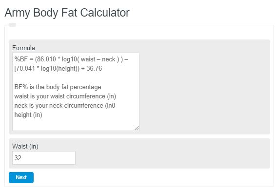 Army Body Fat Calculator