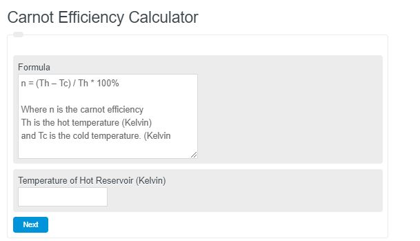 Carnot Efficiency Calculator