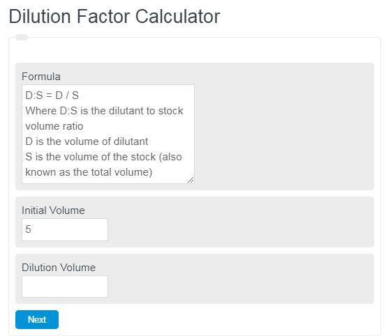 Dilution Factor Calculator