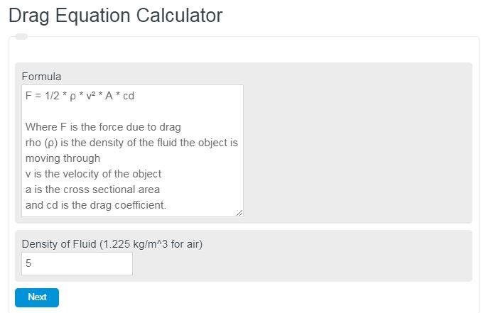 Drag Equation Calculator
