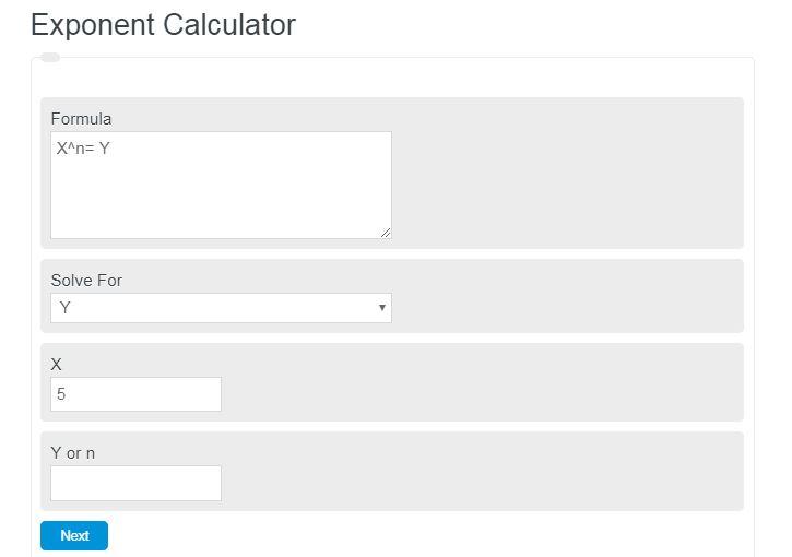exponent calculator