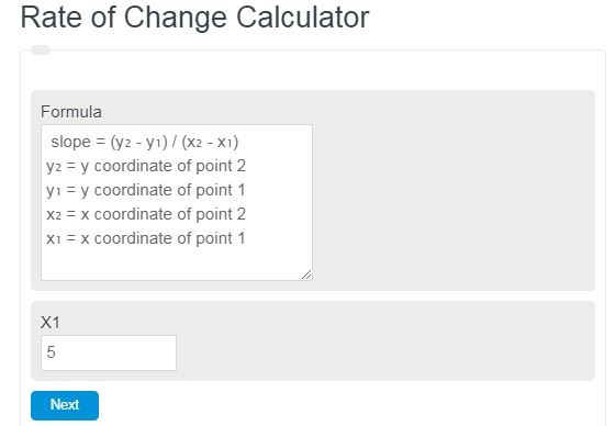 rate of change calculator