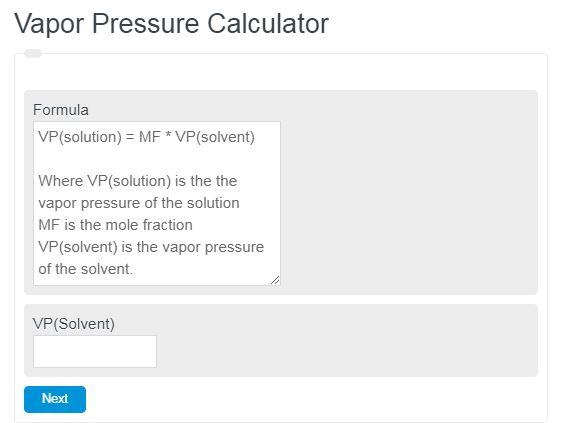 Vapor Pressure Calculator