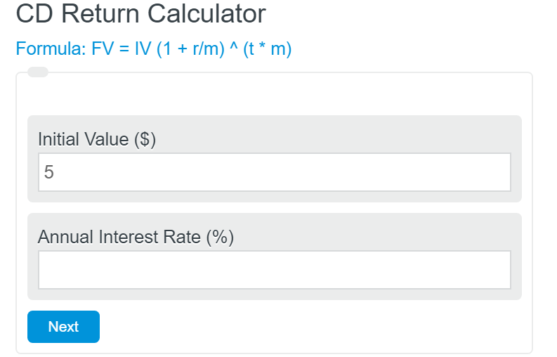 certificate of deposit return calculator