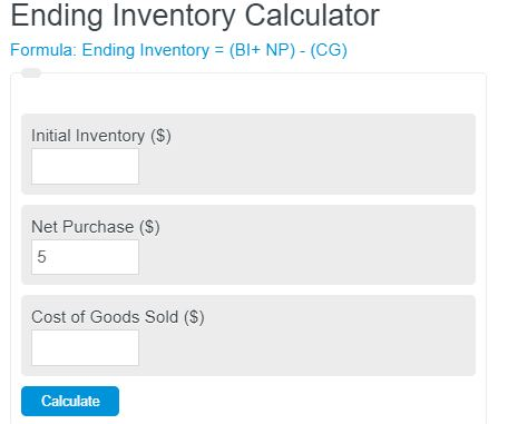 ending inventory calculator