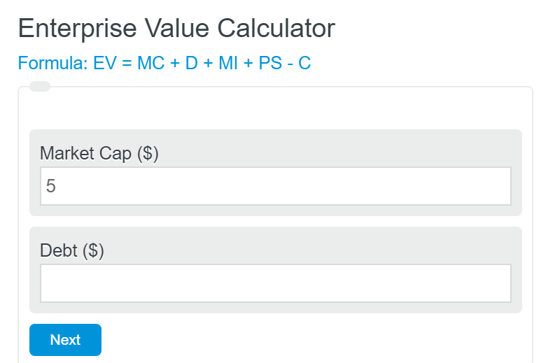 enterprise value calculator