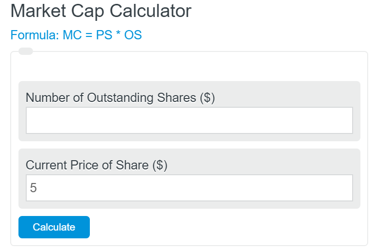 market capitalization calculator