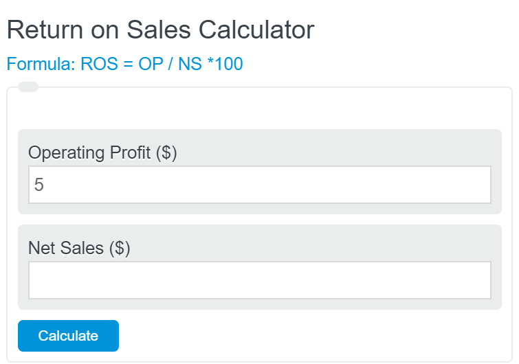 return on sales calculator