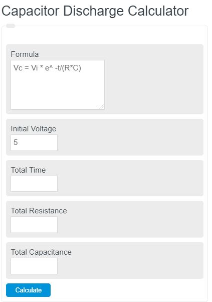 capacitor discharge calculator