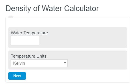 density of water calculator