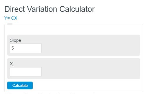 direct variation calculator