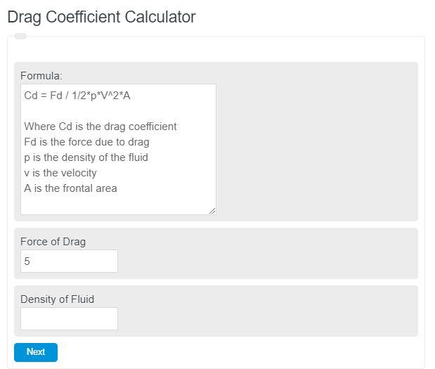 drag coefficient calculator