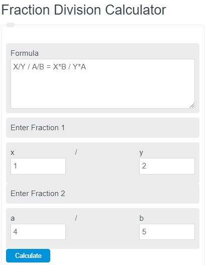 fraction division calculator