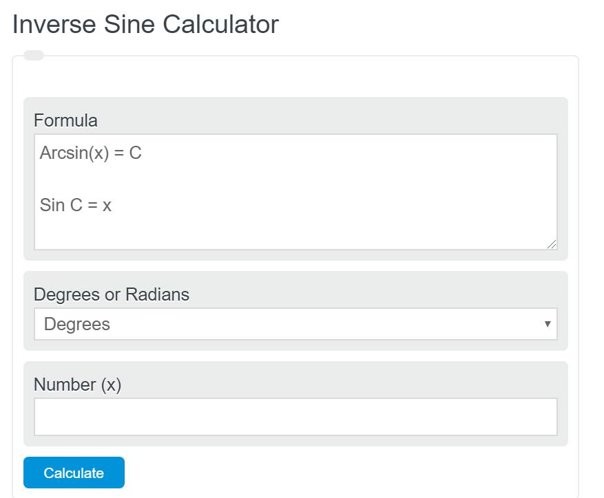 inverse sine calculator