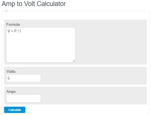 amp to volt calculator