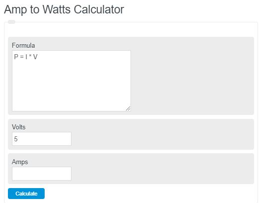 amps to watts calculator