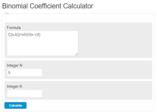 binomial coefficient calculator