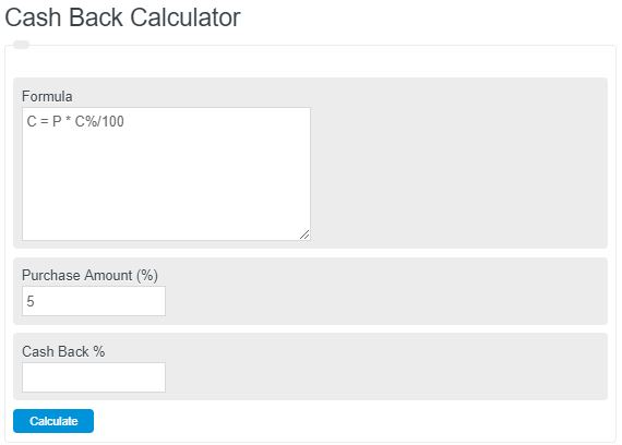 cash back calculator