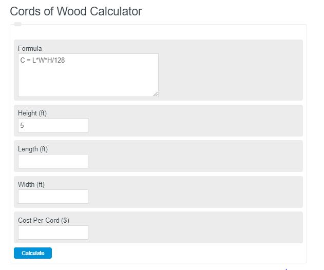 cords of wood calculator