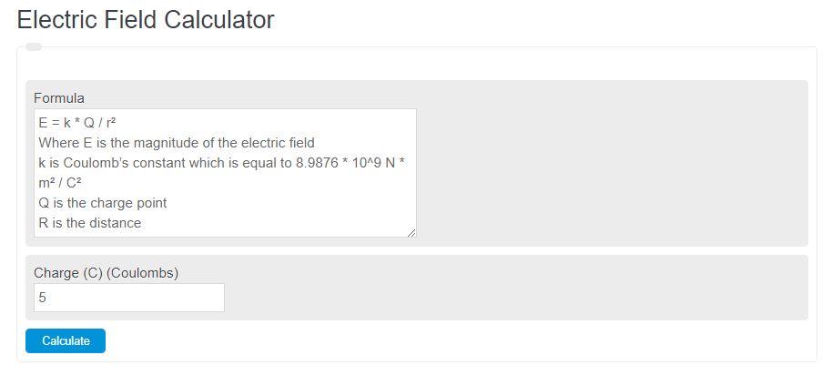 electric field calculator