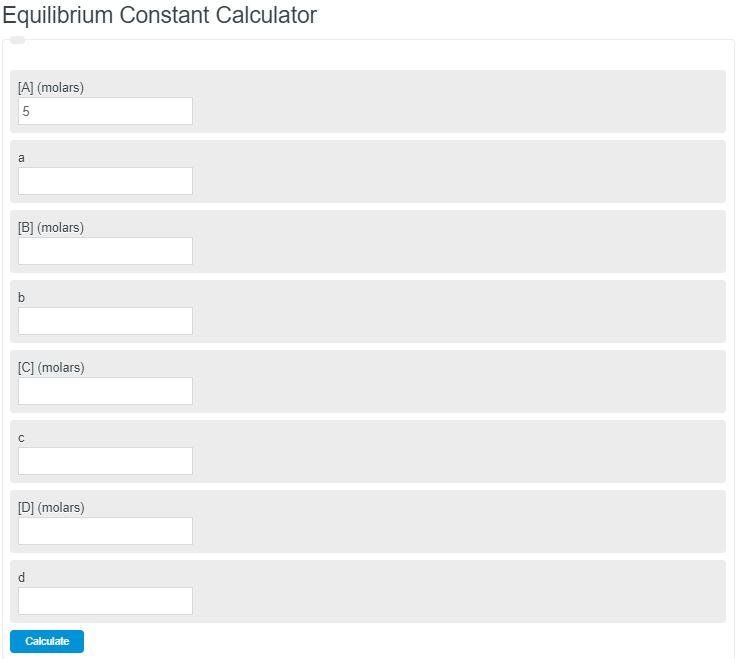 equilibrium constant caculator