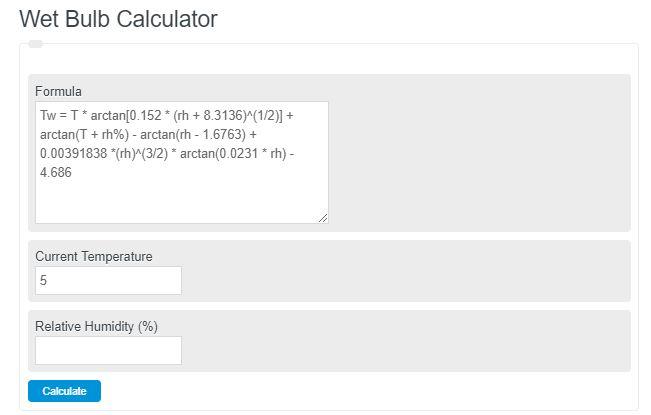 wet bulb calculator