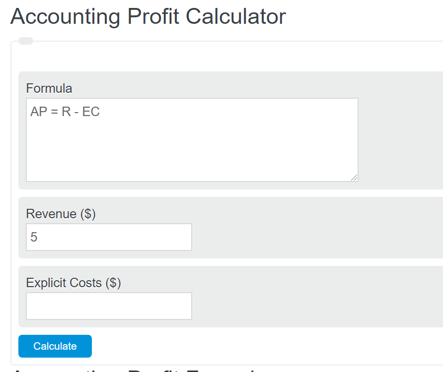 accounting profit calculator