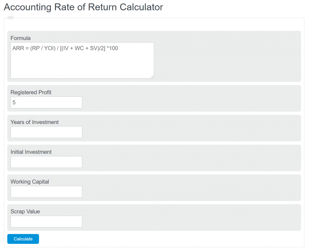 accounting rate of return calculator