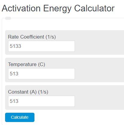 activation energy calculator