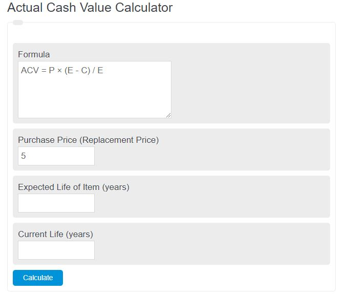 actual cash value calculator