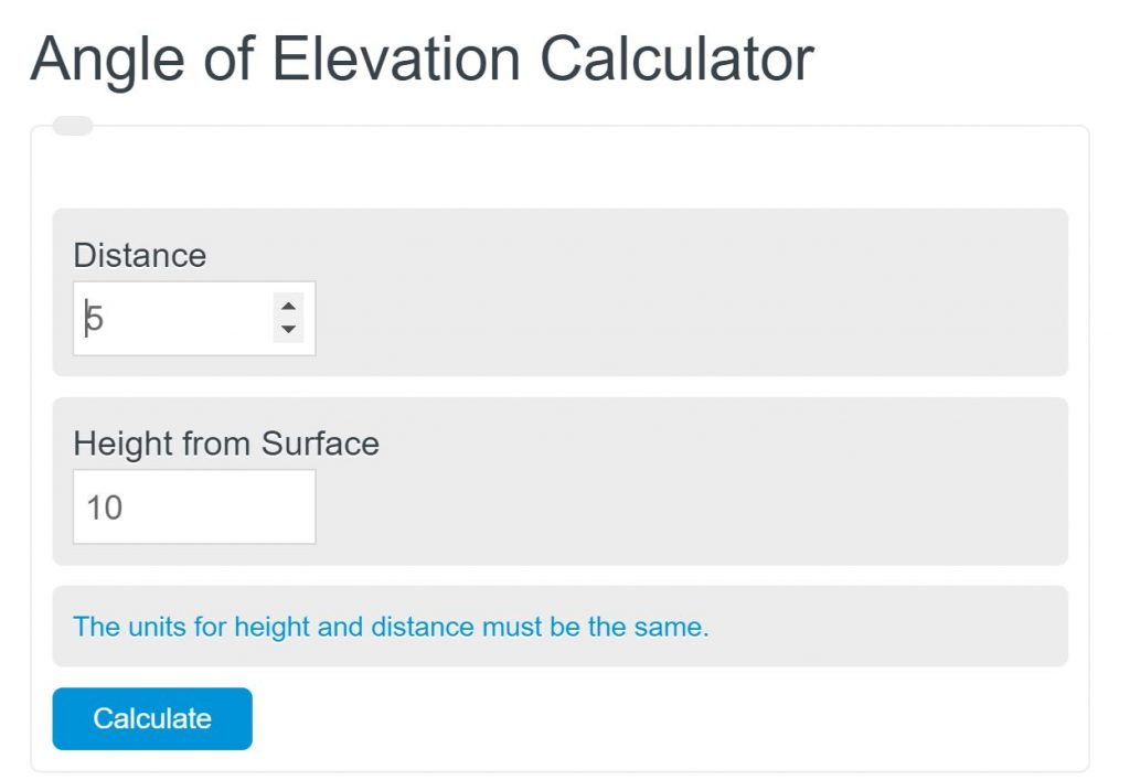 angle of elevation calculator