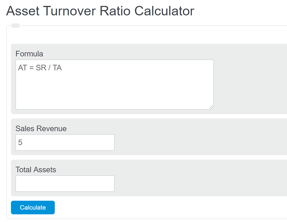 asset turnover ratio calculator