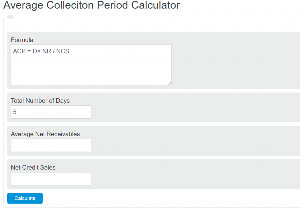 average collection period calculator
