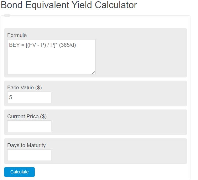 bond equivalent yield calculator