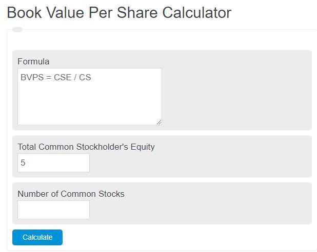 book value per share calculator