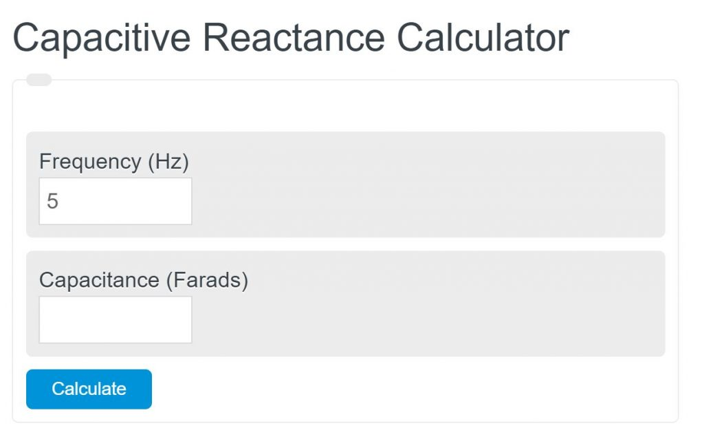 capacitive reactance calculator