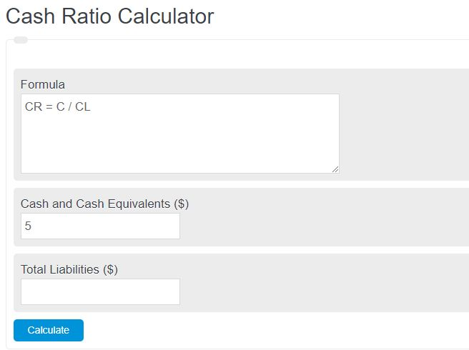 cash ratio calculator