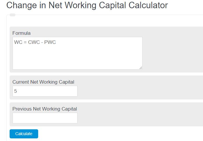 Change in Net Working Capital Calculator