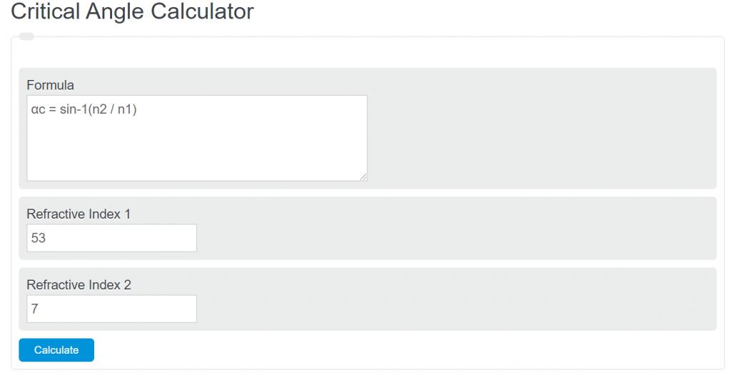 critical angle calculator