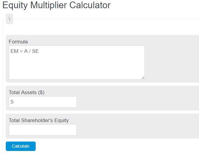 equity multiplier calculator
