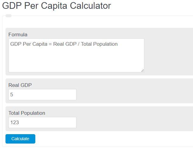 gdp per capita calculator