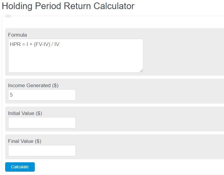 holding period return calculator
